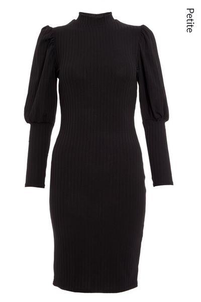 Petite Black Puff Sleeve Midi Dress